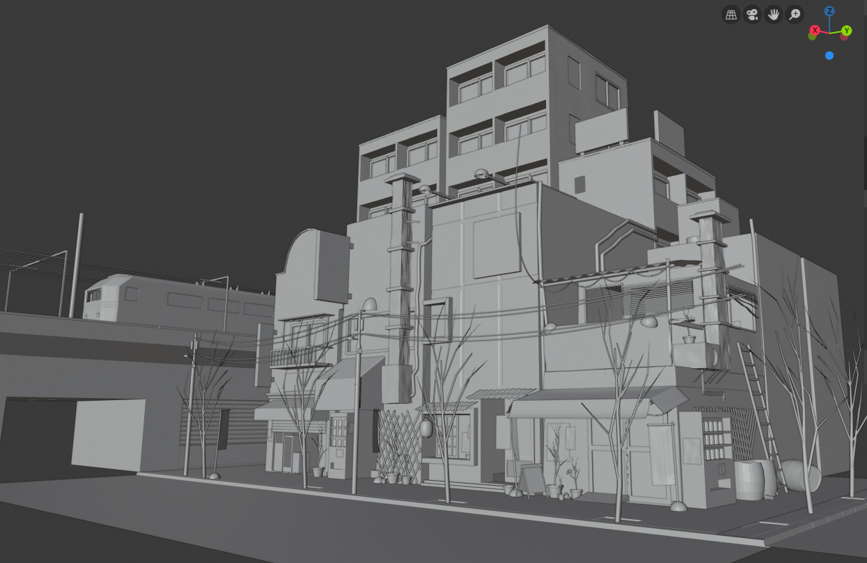 3D modeling japanese city